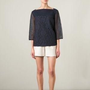 Tory Burch Navy Blue Lindsey Lace Top XS